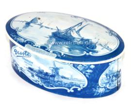 Boîte à chocolat ovale vintage en étain bleu de Delft pour DROSTE