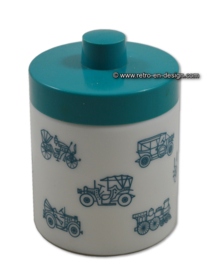 Opaline jar for mocha coffee. Old vehicles,  aquamarine blue lid