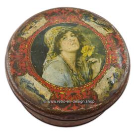 Antique round tin candy drum by Van Melle