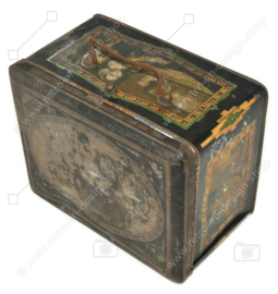 Antique rectangular tin with handle and images of musicians