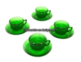 Arcoroc Sierra glassware, green Cup and saucer