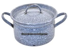 Old antique gray clouds Enamel casserole