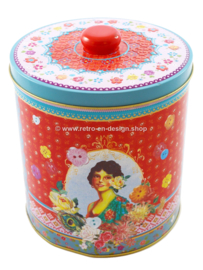 Round retro tin with 1950s images