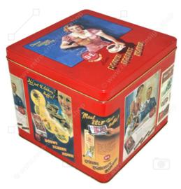 Große rote quadratische Retro Douwe Egberts Kaffeedose mit nostalgischem D.E. Anzeige