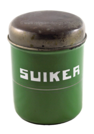 Brocante reseda green enamel canister for sugar