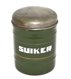 Recipiente para azúcar esmaltado en verde oscuro con mayúsculas blancas