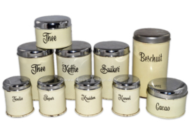 TEN vintage food canisters made by Brabantia ca. 1955-1965