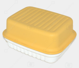 Vintage Tupperware Cracker Server in yellow / white