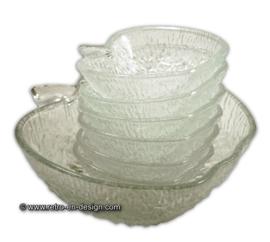Vintage set  glass apple bowls, 7 pieces