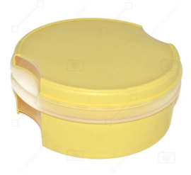 Vintage Tupperware Window Cookie Canister in light yellow with transparent window