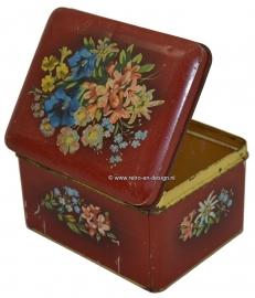 Vintage Verkade koekjesblik met bloemendecoratie