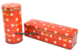 Set of red ARK tins, for rusk and gingerbread
