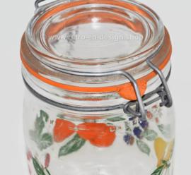 Vintage glass jar with fruit motif by Le Parfait Super