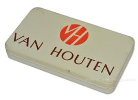Vintage platte blikken doos voor chocolade van Van Houten