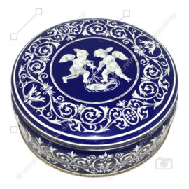 Boîte à biscuits ronde bleue et blanche avec angelots, figurine enfant potelée avec ailes