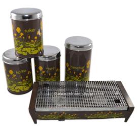 Vintage Brabantia Contenedores de lata para té, café, azúcar, bizcocho tostado y placa caliente en marrón con decoración de flores de ranúnculos