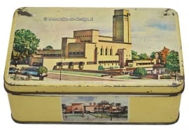 Vintage tin with City Hall and broadcasting companies at Hilversum