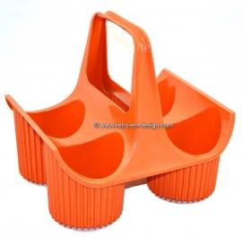 Vintage Curver orange plastic bottle basket