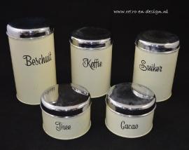 Brabantia set of 5 vintage canisters