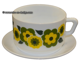 Arcopal Lotus Soup bowl and saucer, green - yellow