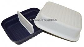 Vintage Tupperware Kornuit, kaasdoos, bewaardoos, broodtrommel, lunchbox. Blauw/wit