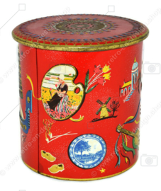 Vintage tin with European countries and images from Holland, Spain, France, Italy
