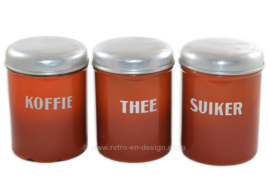 Brocante/antique set of orange-brown enamel storage containers for coffee, sugar and tea (Dutch)