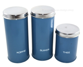 Brabantia set of three blue canisters for coffee, sugar and tea