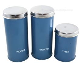 Brabantia ensemble de trois boîtes bleues pour le café, le sucre et le thé