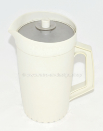 Vintage Tupperware Decorator Pitcher white with grey lid