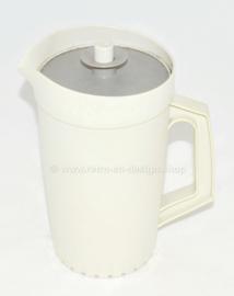 Vintage Tupperware Decorator Krug oder kanne, weiß mit grauem Deckel