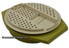 Vintage groen/beige Tupperware rasp of schaaf