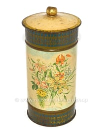 Lata cilíndrica para galletas o bizcochos fabricada por Victoria decorada con estampado de flores
