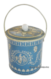 Blue / white vintage tin with handle. In Wedgwood style by Beret Ware
