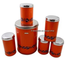 "Vintage set of six Brabantia tins, ""Diana pattern"""