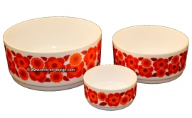 Arcopal France Lotus collection. White bowls with red and orange flower patern