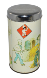 Round, white canister with farmer scene and chrome lid for Rusk by Bolletje