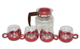 Glass teapot with four combi cups, 70s vintage