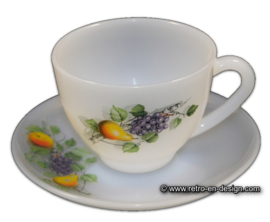 Coffee cup and saucer, Arcopal Fruits de France