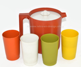 Vintage Tupperware beverage Set. Pitcher and 4 cups
