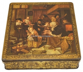 Vintage Tin DFB with painting  of Dutch Master Jan Steen