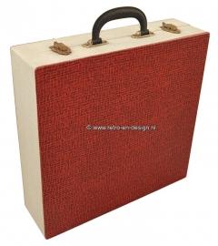 Vintage vinyl Record case, White/red