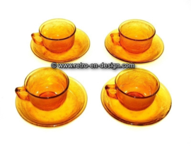 Arcoroc Sierra Glassware, cup and saucer in Amber
