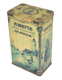 "Rectangular tin drum for 1 kg of KWATTA's calibrated cocoa ""OLANDA"" with performances in a Delft blue tile pictures of a fishing village"
