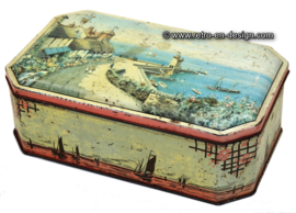 Vintage tin with image of harbour, 1920s