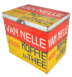 Large rectangular shop tin by Van Nelle for coffee and tea in yellow-red-black. Bekkers, Dordt