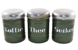 Set van drie Brocante emaille voorraadblikken voor Koffie, Thee en Suiker