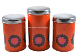 Set of three Brabantia tin canisters with Patrice pattern