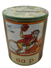 "Large vintage round storage tin ""Aap, Noot, Mies"""