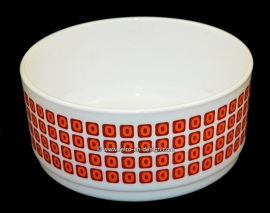Arcopal France large bowl, Squares. Salad bowl with blocks in orange and red